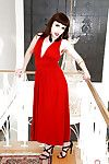 Mature woman in red dress Simone Delilah shows of her overly hairy cunt