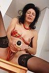Granny emanuelle wears stockings and masturbates