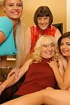 Four mature and young lesbians go wild