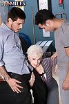 Granny boss fucked by two new workers in office threesome