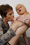Naughty old and teen lesbian couple making out