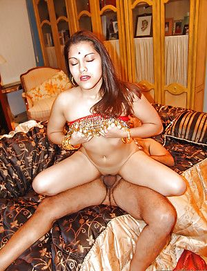 Licentious indian mademoiselle receives a cumshot aloft her shaved cunt