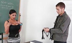 Hot teacher Priya Anjali Rai gives a blowjob together with gets fucked by partisan