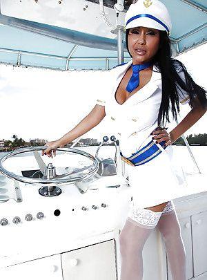 Indian MILF in captain uniform Priya Anjeli Rai stripping on along to yacht