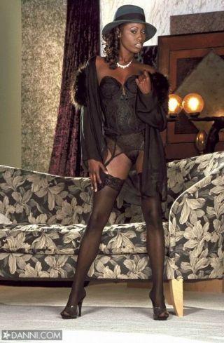 Elegant hyacinthine india wearing sexy black stockings