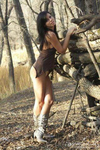 Hot indigene teen kismet rood gets naked in along to woods