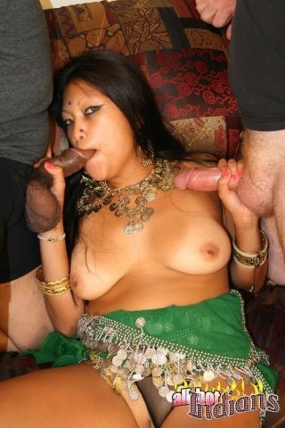 Chunky breasted indian vixen sucking two large cocks for hot jizz